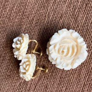 Vintage Carved Rose Brooch & earrings 12k gold Fil